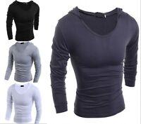 New Fashion Men's Casual Slim Fit T-Shirt Hooded Long Sleeve Tee Shirts ef