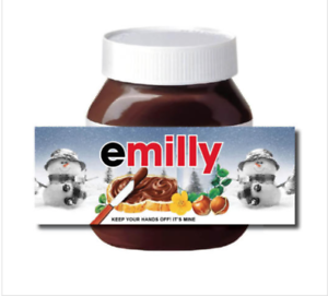 CHRISTMAS Personalised fits Nut Chocolate Spread Jar LABEL Sticker Gift XMAS