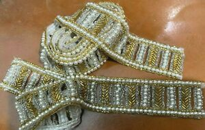 "Vintage Chevron Bugle Hand Sewn Glass Beads Pearls 1.5"" Trim 2pcs - 42 inches"