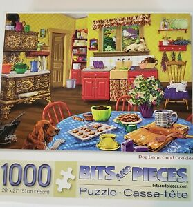 Bits-And-Pieces-Jigsaw-Puzzle-DOG-GONE-GOOD-COOKIES-1000-Pieces-Joseph-Burgess