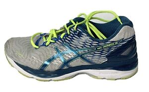 Asics-Gel-Nimbus-18-T600N-White-Island-Blue-Mens-Running-Shoes-Size-US-9-5