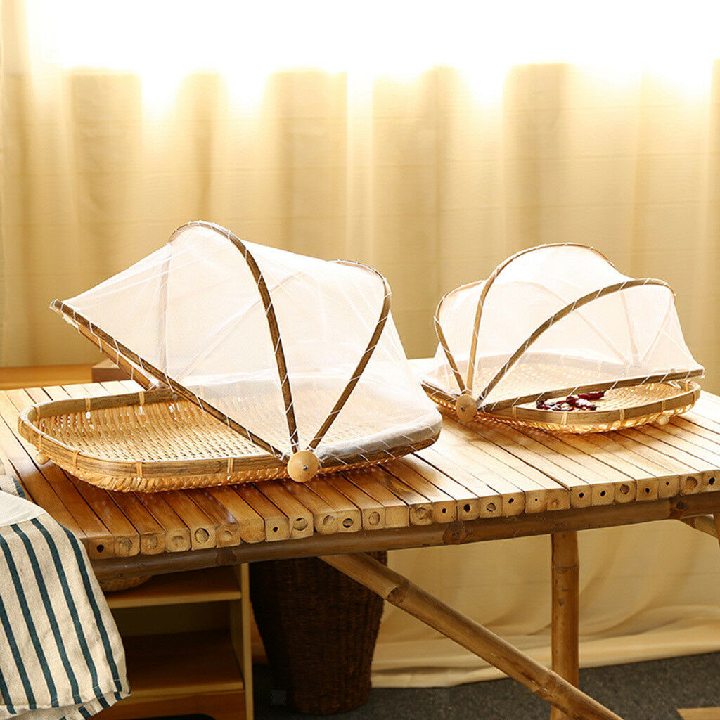 2 Tailles Bamboo Serving Food Tente Panier Fruits Couvercle Panier aucun trou