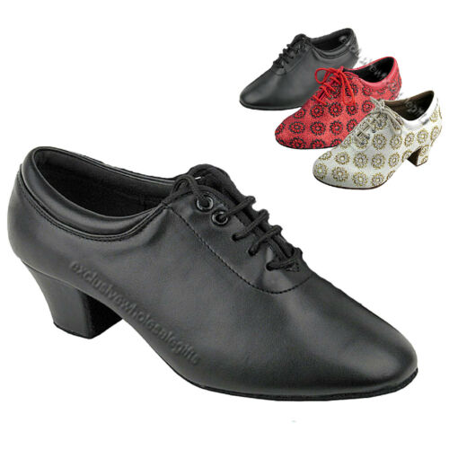 "Women/'s Salsa Ballroom Practice Black Red White Dance Shoes 1.6/"" Very Fine C2601"
