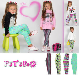 Kids Full Length Cotton Leggings Various Patterns Sizes 2 - 13 Years PLW