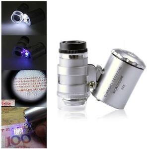 60x Handheld Pocket Microscope Jeweler Magnifier With LED Light Glass Hot