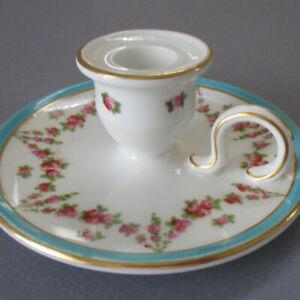 Antique Porcelain CHAMBER STICK Pink ROSES Turquoise Enamel * GEO JONES Crescent