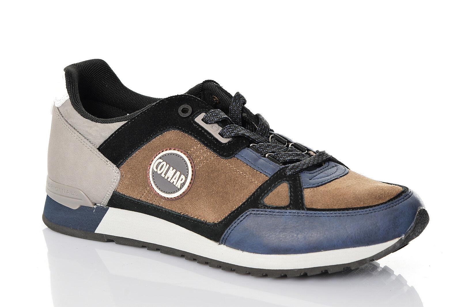 Sneakers men Colmar Travis Supreme Pad 2018 2019 shoes Pelle brown blue Nuove
