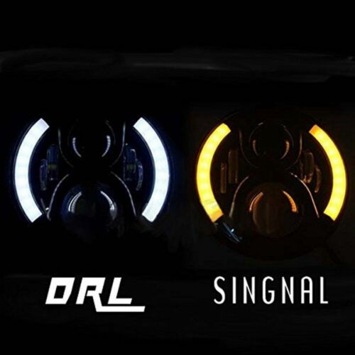 DOT E9 Pair 7inch Round LED Headlight Black Hi//Lo Beam for LAND ROVER DEFENDER