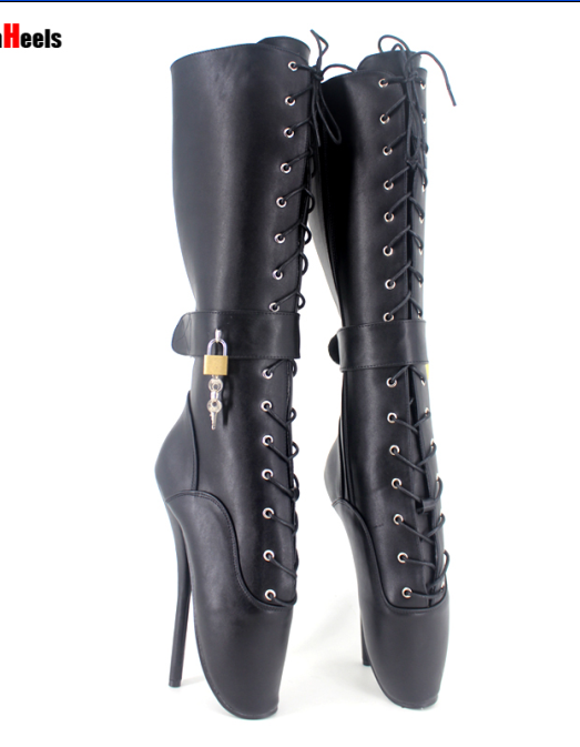 mujer sexy mid-calf botas zapatos@ lace up stilettos with lock dance unisex ballet zapatos@ botas 2b18b3