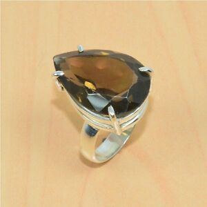 925-SOLID-STERLING-SILVER-FACETED-SMOKEY-QUARTZ-RING-JEWELRY-8-5US-S02941