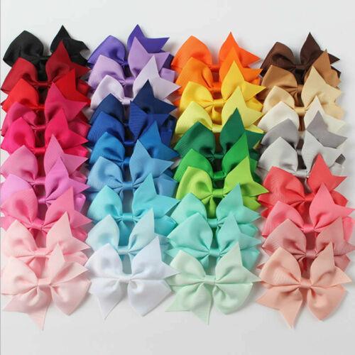 40 X Handmade Bow Hair Clip Alligator Clips Girls Ribbon Kids Sides Accessories