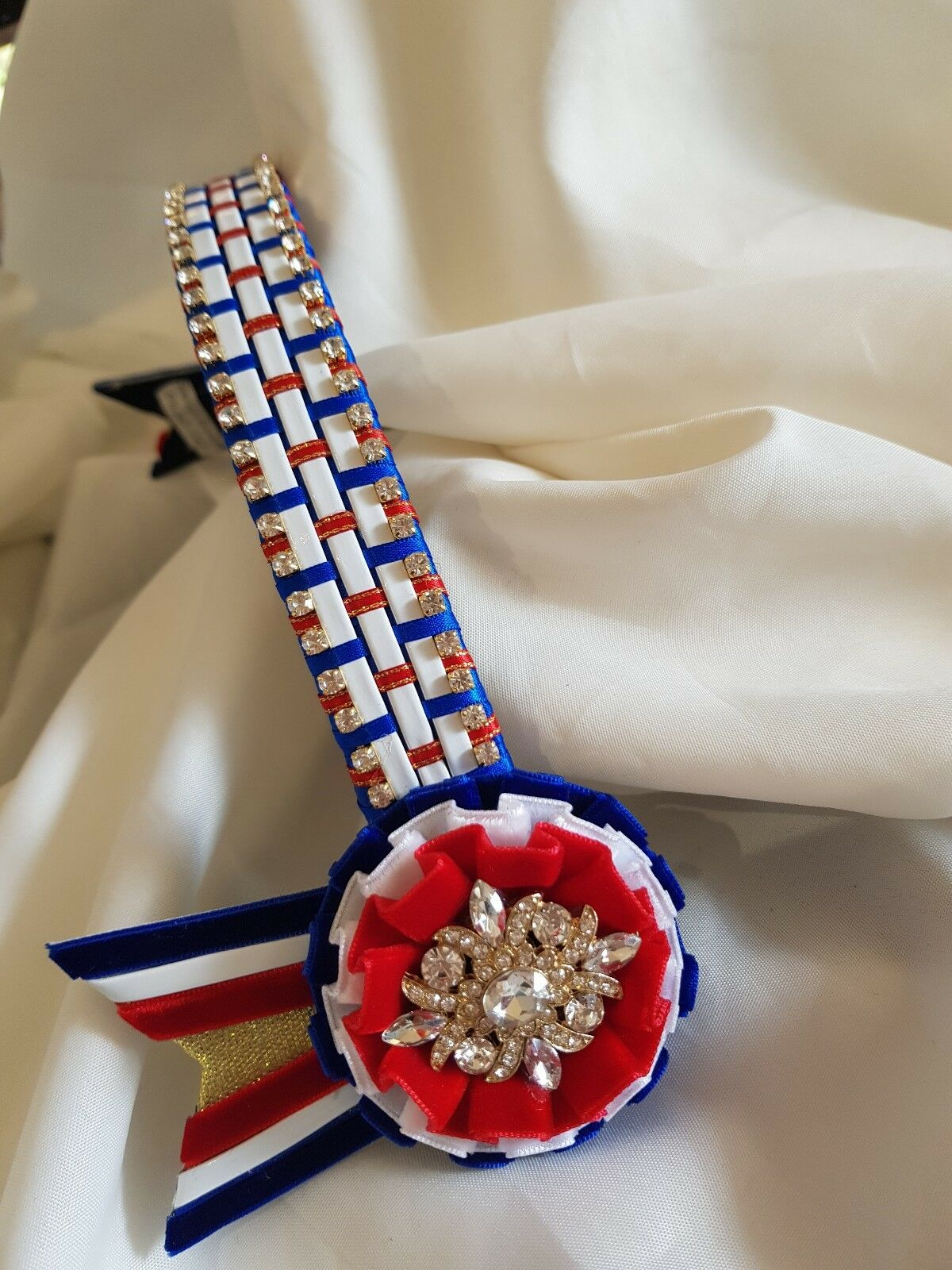 Browband patent weave on 1inch red & royal white patent by Starlight Browbands