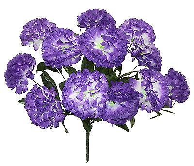 12 Carnations ~ PURPLE / WHITE ~ Long Stems Silk Wedding Flowers Bouquets Decor