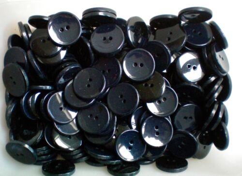 Large 22mm Dark Navy Blue /& Black 2 Hole Polished Coat Jacket Buttons W412