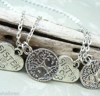 2 3 Sisters Tree Of Life Family Pendant Necklace Sets Friendship Twins Triplets