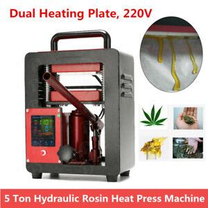 220V-Hydraulic-Rosin-Tech-Heat-Press-Machine-5Ton-Dual-Heating-Plates-2-4-034-x4-7-039-039