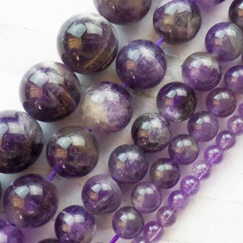 A Strand Natural Amethyst Round Loose Bead 15.5 inch 4-12mm Y0045