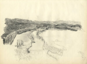Austin Blomfield - Mid 20th Century Charcoal Drawing, River View