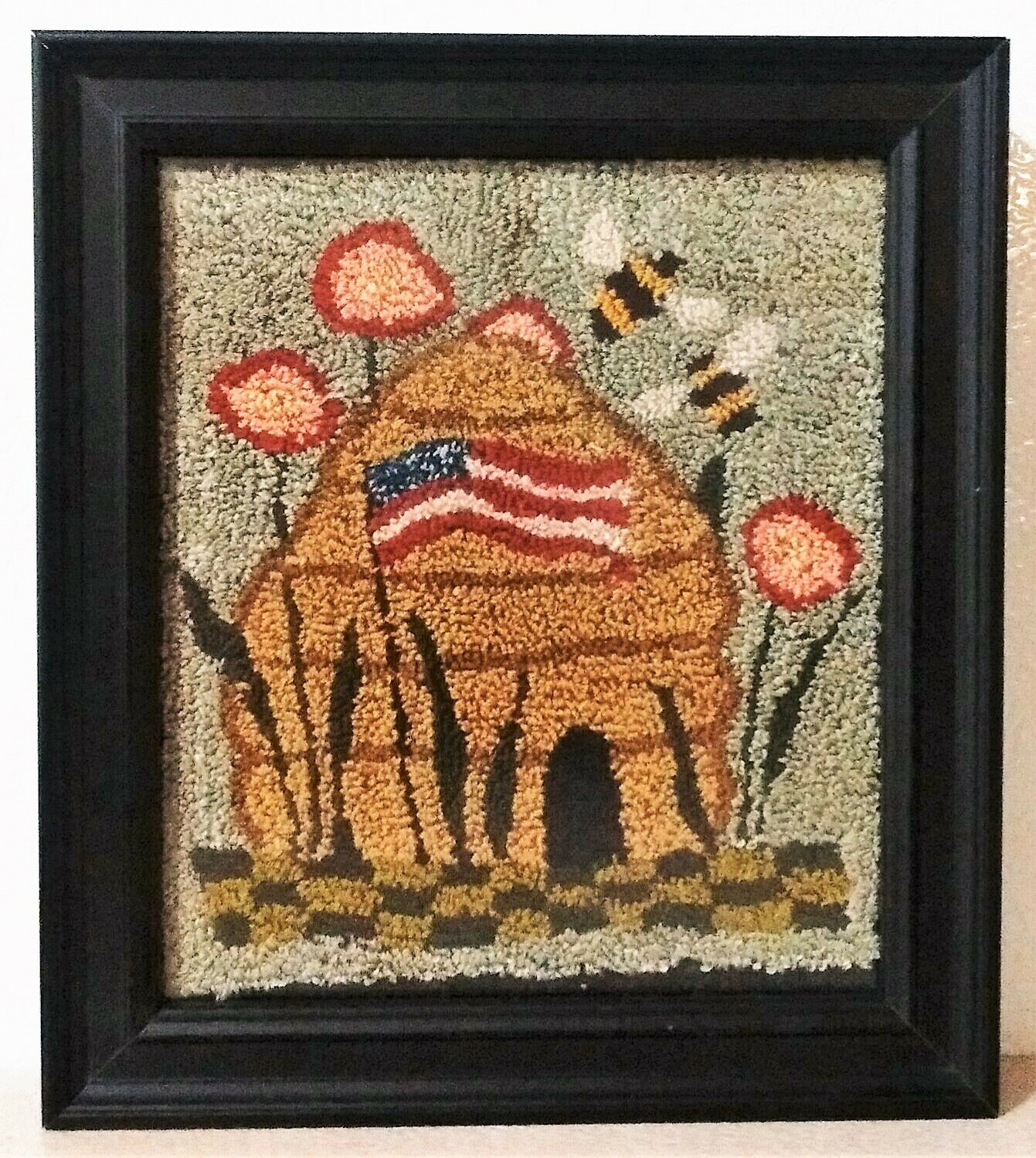 Framed patriotic wall hanging, punch needle, handmade, American flag, bees, hive