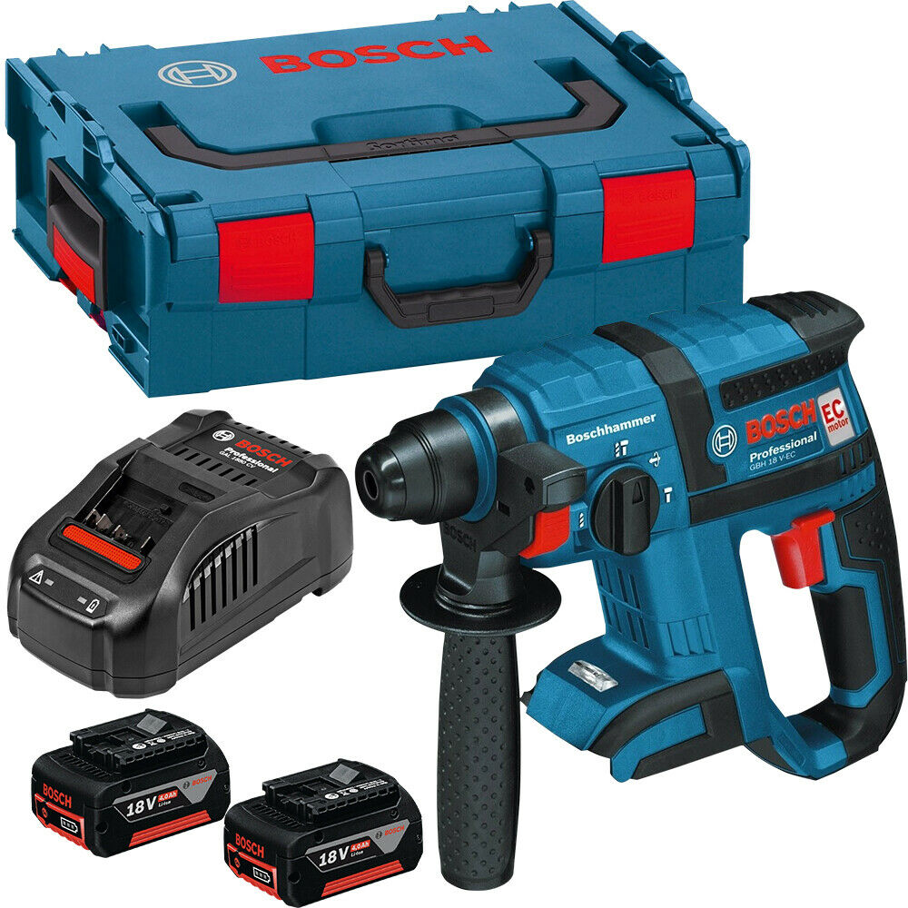 Bosch GBH18V-EC 18V Brushless SDS+ Hammer Drill + 2 x 4Ah Batteries Charger Case