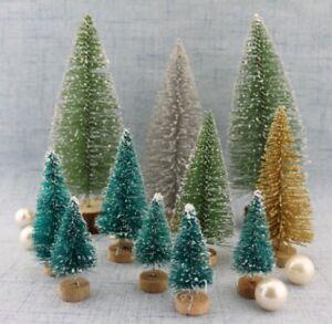 5pcs-Mini-Sisal-Bottle-Brush-CHRISTMAS-Tree-Santa-Snow-Frost-Village-Putz-House