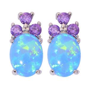Blue-White-Fire-Opal-Amethyst-Silver-Women-Jewelry-Gems-Stud-Earrings-OH4117-18