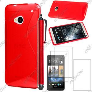 Housse-Etui-Coque-Silicone-S-line-Gel-Rouge-HTC-One-M7-Stylet-3-Film-ecran