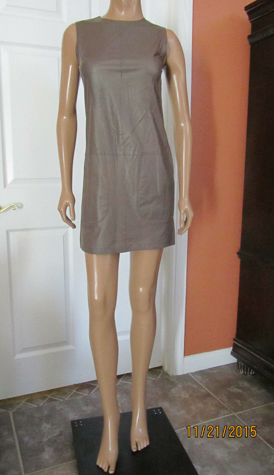 VINCE Lambskin Leather Sleevless Shift Dress Oak Size 6 NWT  895