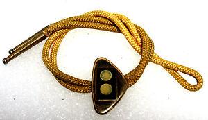 Western-Bolo-Tie-HICKOK-Brass-Triangle-Slide-Yellow-Nylon-Gold-tone-Tips-16-5