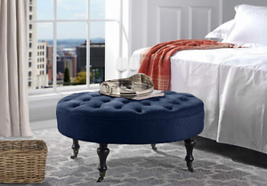 Round-Ottoman-Coffee-Table-Footstool-Tufted-Living-Bedroom-Furniture-Navy-Blue