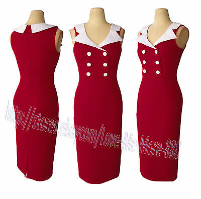 Womens Sleeveless Rockabilly Pinup Bodycon Fitted Midi Pencil A Wiggle Dress RED
