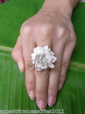 Handmade Thailand Ring Clear Bead White Stone FAIRTRADE JEWELRY woven Adjustable