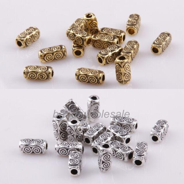 Hot Sale 50Pcs Antique Silver/Gold Tibetan Silver Bar-Type Spacer Bead
