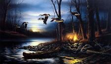 """Terry Redlin """"Evening Glow"""" Encore Camping Campfire Geese Art Print"""