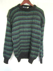 Details about Burberry Men's Sweater Large Blue & Green Stripes 100% Wool NEW WITHOUT TAGS