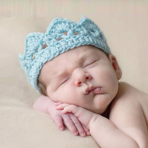 Newborn Baby Girl Boy Princess Crochet Crown Tiara Headband 2-10 Months tuj.