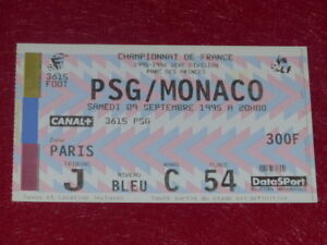 COLLECTION-SPORT-FOOTBALL-TICKET-PSG-MONACO-9-SEPTEMBRE-1995-Champ-France