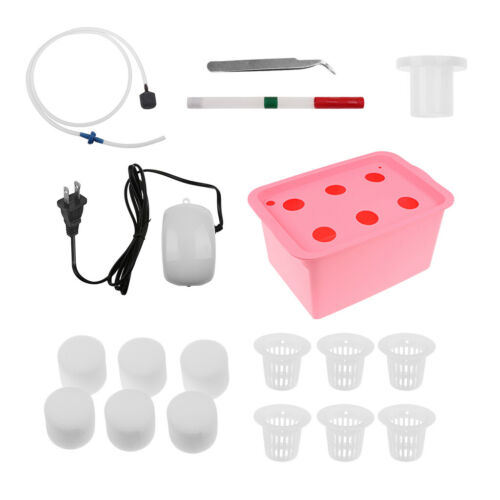 6 Holes Plant Site Hydroponic System Grow Kit Bubble Indoor Cabinet Box Red