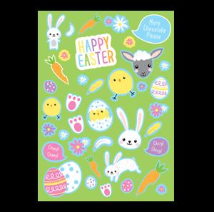 2 Sheets of Easter Craft Stickers Kids Bonnet Egg Bunnies Chick Hunt Card Art