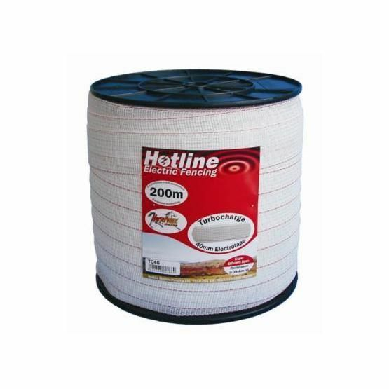 Hotline Electric Fencing TC46-2 White Turbocharge Tape 40mm x 200m 10 Conductors