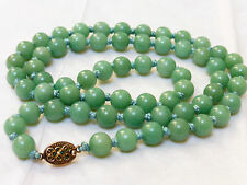 CHINESE VINTAGE GREEN JADE 8mm BEAD NECKLACE, SILVER CLASP, 51 grams