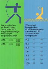 """Olympische Spiele 1972 München Motiv """"Wettkampfplakat"""" DIN A1 Otl Aicher SELTEN"""