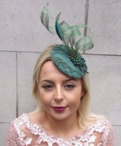 Forest Emerald Green Feather Fascinator Hat Hair Clip Pillbox Races ... 3b35d0559af