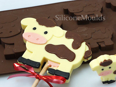 4+1 Cow Farm Animal Novelty Chocolate Candy Bar Silicone Mould Lolly Lollipop