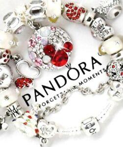 Image Is Loading Authentic Pandora Bracelet Silver Disney Red Mickey European
