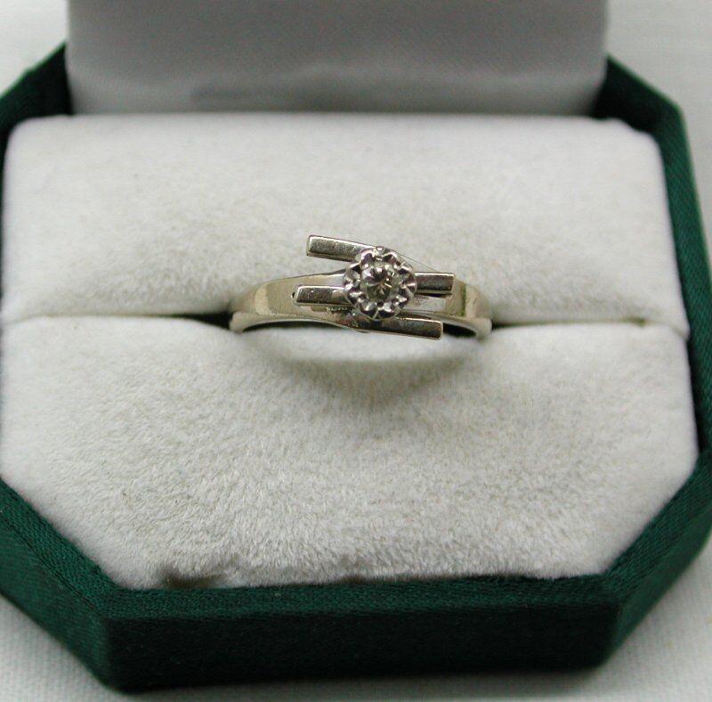 VINTAGE 18ct Bianco Bianco Bianco oro Elegante Colore Diamante Solitario Anello b6cd24
