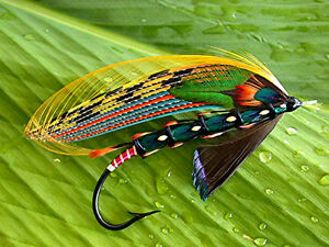 """3.25"""" Bud Guidry Fully Dressed Jungle Cock Salmon fly art Sticker. Fly tying."""