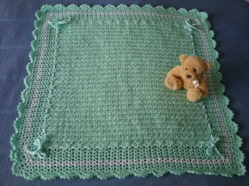 Hand Made Crocheted Baby Rug Blanket Textured