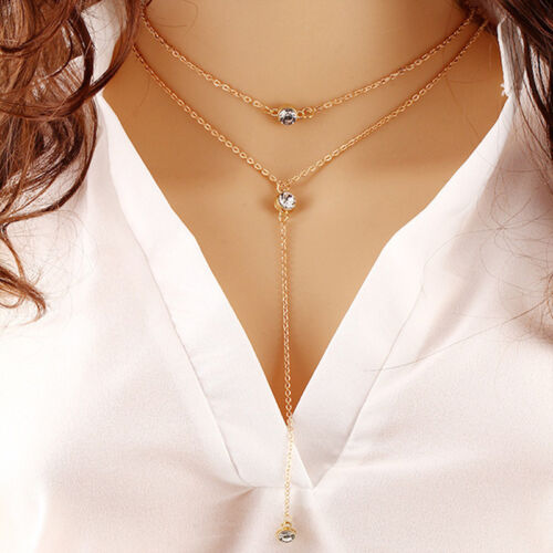 18K Gold Plated Double Rows Big Cubic Zirconia CZ Charm Tassel Chain Necklace