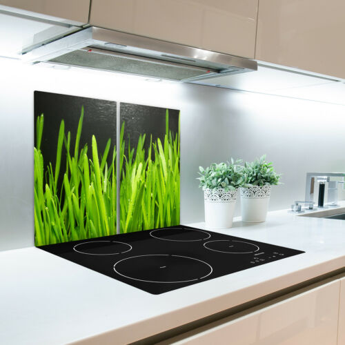 Glas-Herdabdeckplatte Ceranfeldabdeckung Zweiteilig 2x30x52 Gras